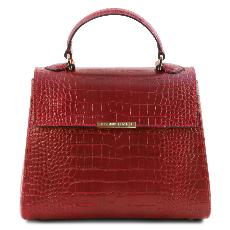 Solde Petit Sac Cuir Croco Femme Rouge - Tuscany Leather -