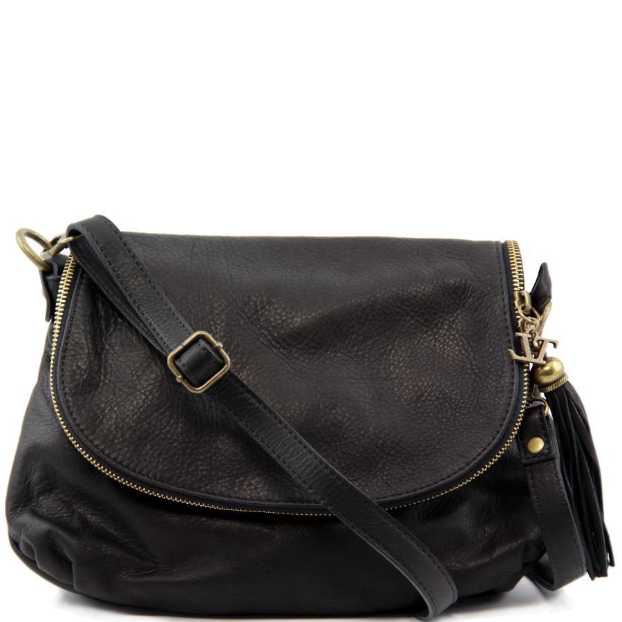 e8ddb5446d90 Sac Bandoulière Cuir Besace Noir Femme -Tuscany Leather-
