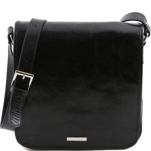 Sac  Besace Bandoulière Cuir Homme Noir -Tuscany Leather-