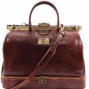 Sac de Voyage ou Medecin Cuir Double Fond Marron  -Tuscany Leather-