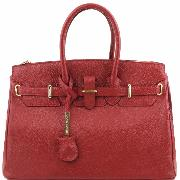 Promo Sac Cuir Femme avec Sangle Rouge  - Tuscany Leather -