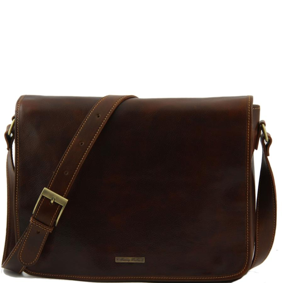 Sac messenger Homme marron