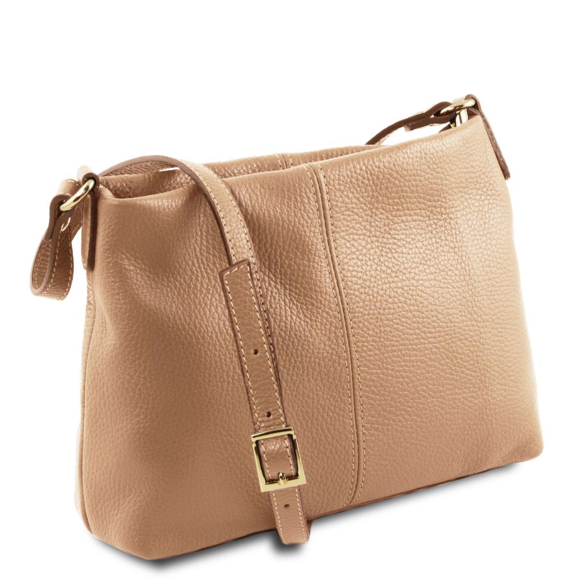 Sac Bandoulière Cuir Souple Femme Beige - Tuscany Leather -