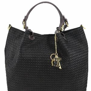 0fd20b67e1 Sac Cuir Daim Tressé Noir Femme -Tuscany Leather -