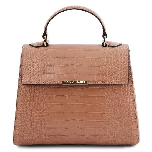 Sac Cuir Croco Femme Beige - Tuscany Leather -