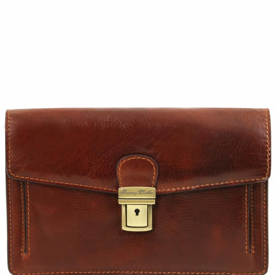 0d16217079 Pochette Homme Cuir Marron - Tuscany Leather -