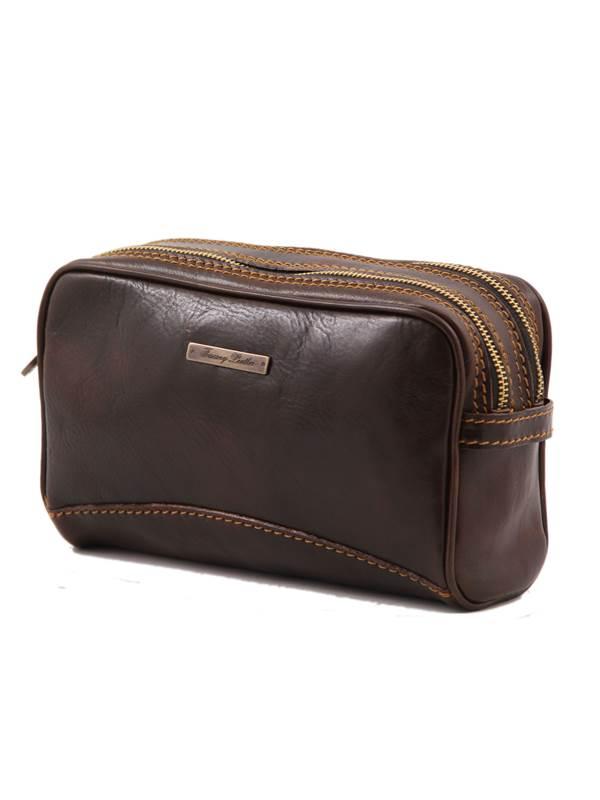 trousse de toilette en cuir 2 compartiments s par s tuscany leather. Black Bedroom Furniture Sets. Home Design Ideas