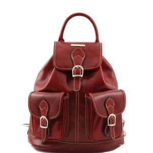 Sac a Dos Cuir Retro Femme Rouge  - Tuscany Leather -