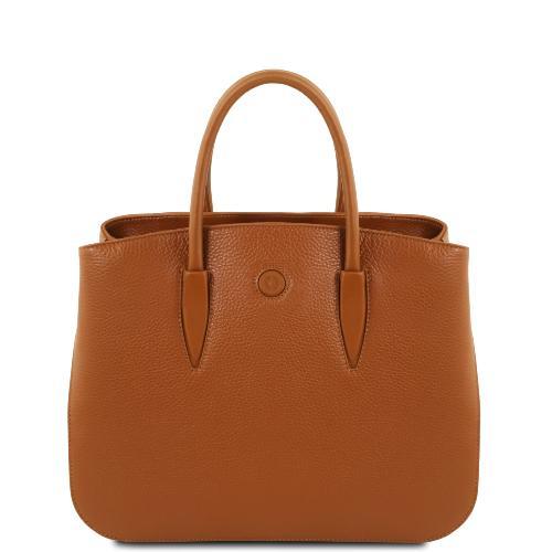 Sac Cabas Cuir Souple Femme Camel- Tuscany Leather -