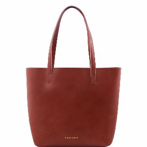 Sac Cabas Cuir Femme Marron Poche Interieure Amovible -Tuscany Leather-