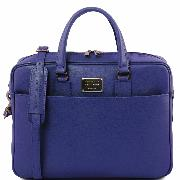Sac Cuir Ordinateur Portable Femme Bleu -Tuscany Leather-