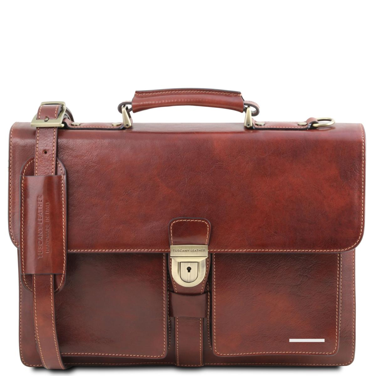 Cartable Tuscany Cuir Homme Lether 3 Compartiments Chic l5ucT3FK1J