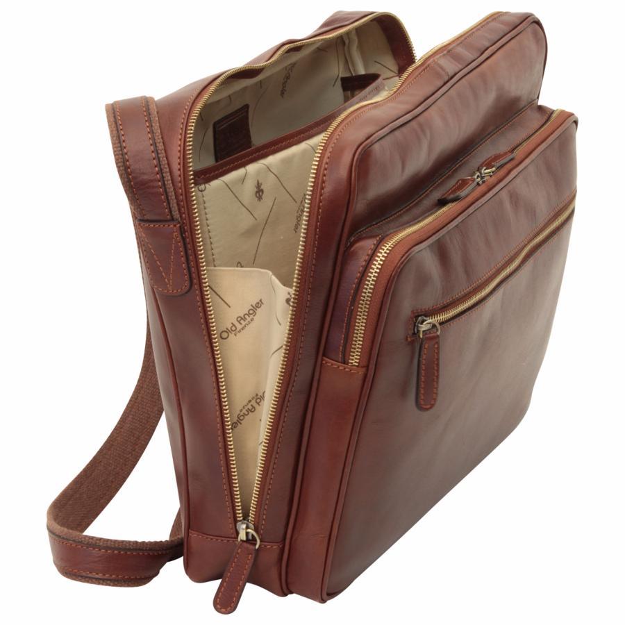 Sac à Bandoulière Ordinateur : Sac pour ordinateur portable en cuir avec poches old angler