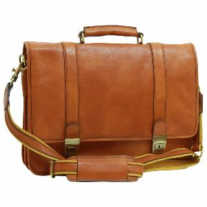 Cartable Classique Cuir Homme Camel- Old Angler -