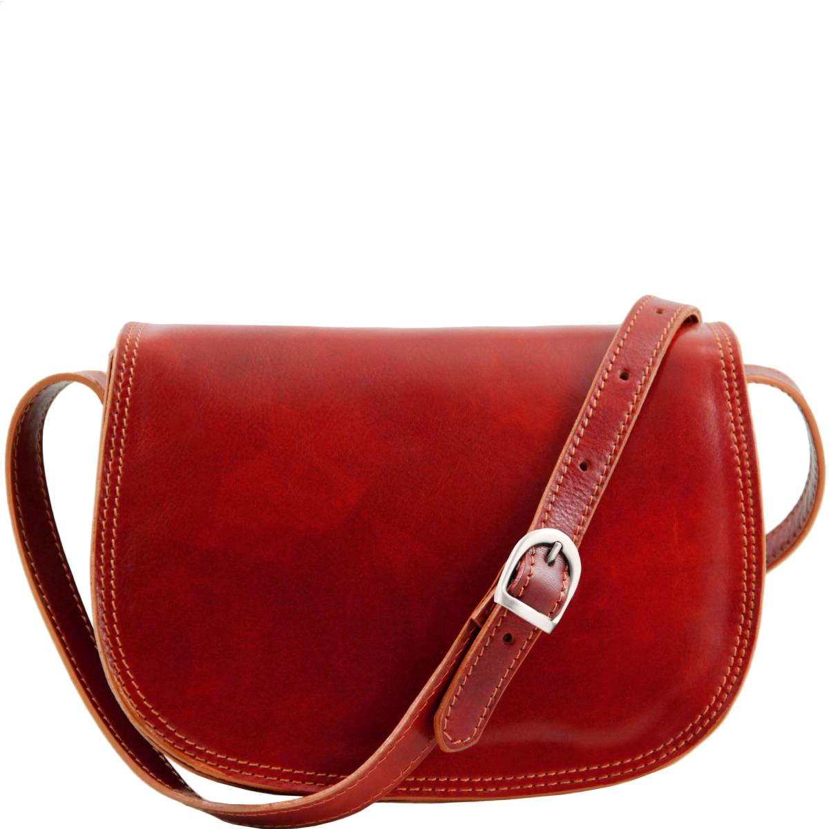 Sac Bandoulière Cuir Rouge Femme -Tuscany Leather-