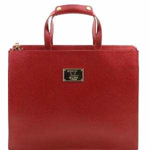 Cartable Cuir Rouge Femme 3 Compartiments -Tuscany Leather-