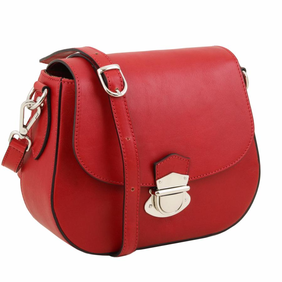 85fb877aa297d Sac Bandoulière Besace Cuir Femme Rouge -Tuscany Leather -