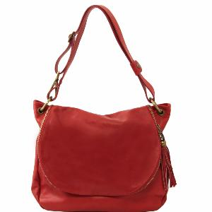 Grand Sac Cuir Bandoulière Besace Femme Rouge  -Tuscany Leather- Rouge
