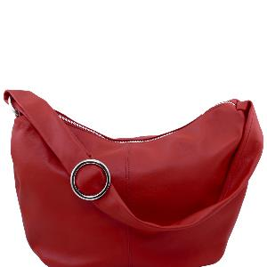 Sac Bandoulière Cuir Besace Femme Rouge -Tuscany Leather-