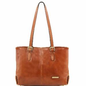 Grand Sac Bandoulière Cuir Deux Anses Femme Camel -Tuscany Leather-