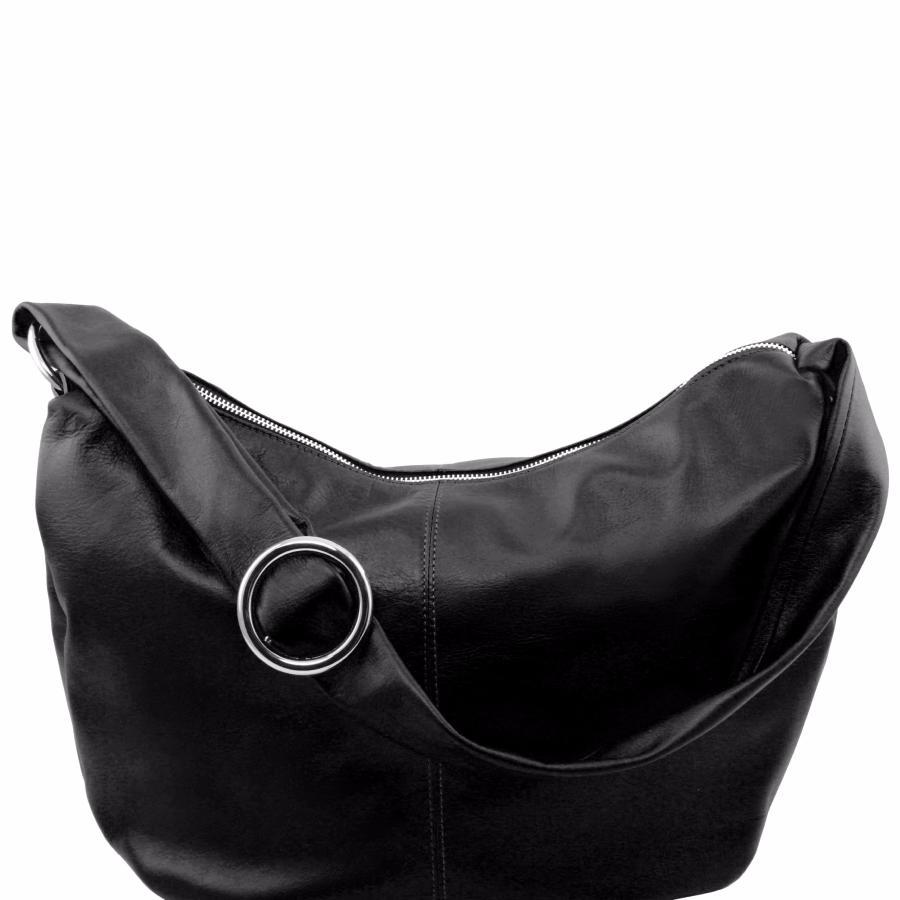 a3bfedbf99d1 Sac Bandoulière Cuir Besace Femme Noir -Tuscany Leather-