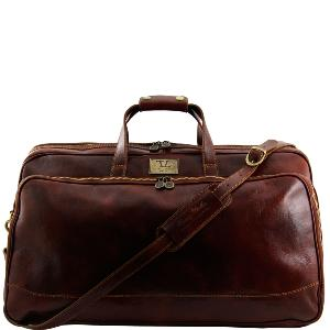 Grand Sac de Voyage Cuir Roulettes Marron - Tuscany Leather -