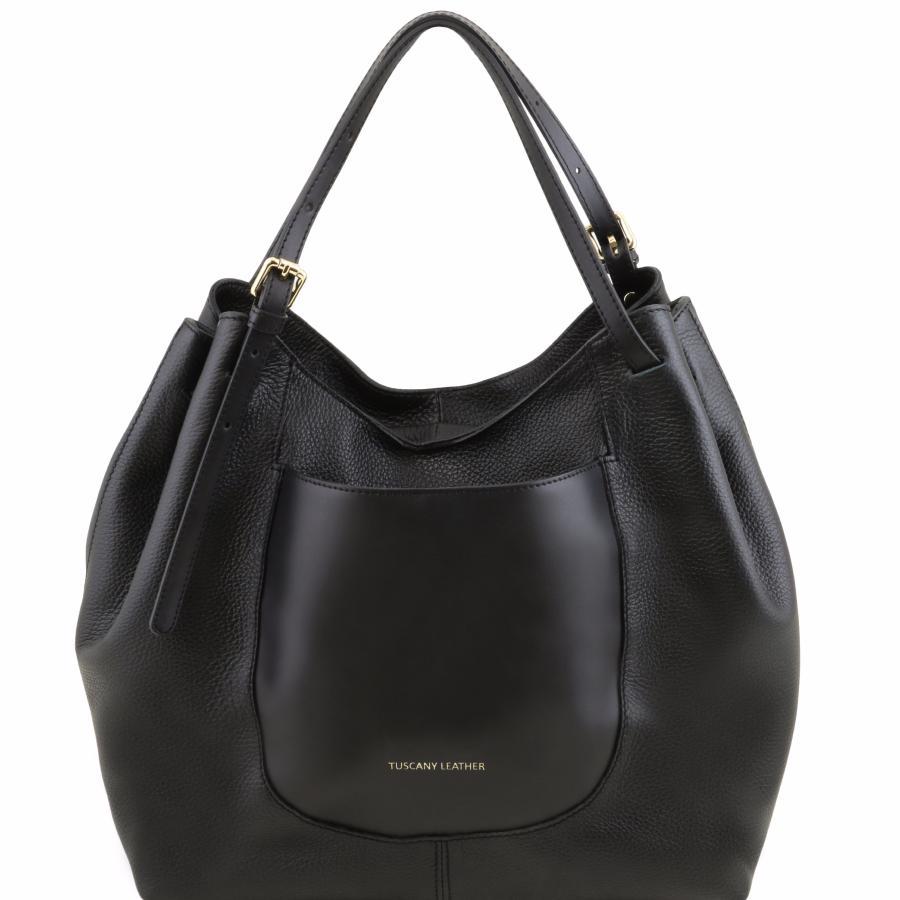 d78446459bd Grand Sac Besace Cuir Femme Noir - Tuscany leather -