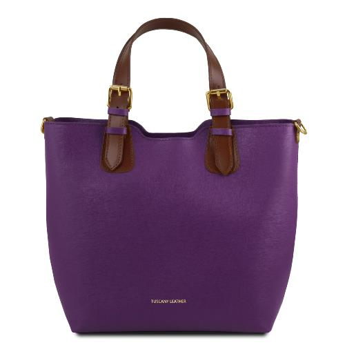 Sac Cabas Cuir Femme Violet - Tuscany Leather -