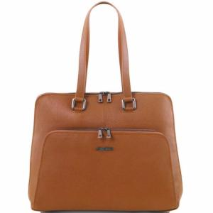 Sac Business Ordinateur Cuir Femme Camel -Tuscany Leather-
