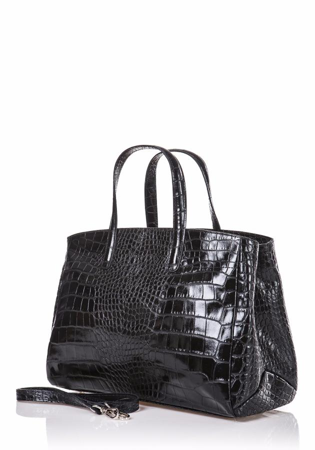 634f46dccf Sac Cuir Vernis Croco Femme Style Malette -LUCY-