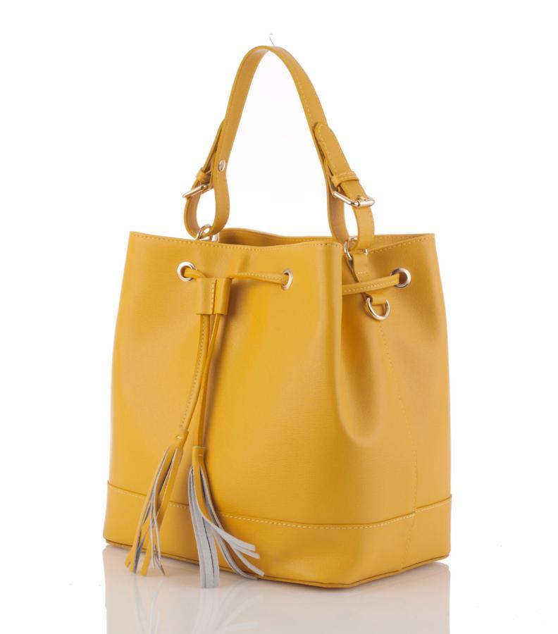 sac a main sceau cuir jaune