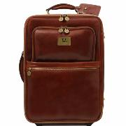 Valise Trolley Cuir Roulettes Cabine Avion - Tuscany leather -