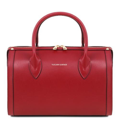 Sac Cuir Bowling Femme Rouge Tuscany Leather