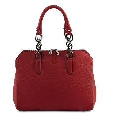 Sac Cuir double bandoulière Femme Rouge - Tuscany Leather -