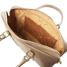 Sacoche Porte Ordinateur Cuir Femme Beige -  Tuscany Leather -