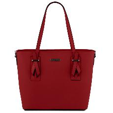 Sac Cabas Epaule Cuir Femme Rouge - Tuscany Leather -