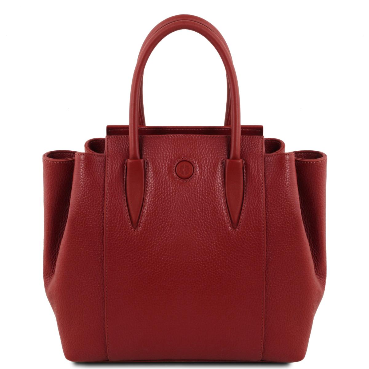 073ad25bf7 Sac à Main Cuir Souple Femme Rouge - Tuscany Leather -