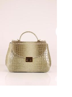 Sac Cuir Croco Beige Femme Nouvelle Collection  -LUCY-