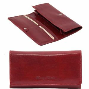 Portefeuille Compagnon Cuir Femme Rouge -Tuscany Leather-