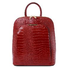 Sac à Dos Transformable Cuir Croco Femme - Tuscany Leather -