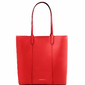 Sac Cabas Cuir Mode Rouge Femme -Tuscany Leather-