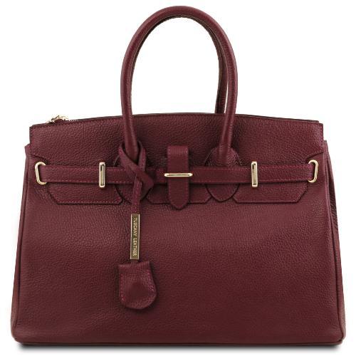 plus récent 9268e f8833 Sac Cuir Grainé Femme avec Sangle - Tuscany Leather -
