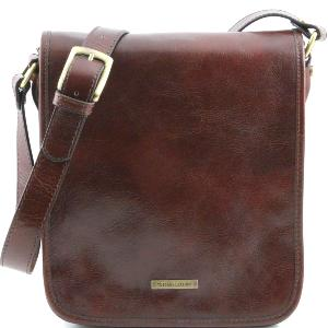 Sac Bandoulière Cuir Homme 2 Compartiments Marron  -Tuscany Leather-