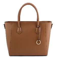 Grand Sac Cabas Cuir Camel Femme - Tuscany Leather -