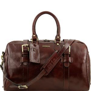 Tuscany Leather - Sac de voyage en cuir avec boucles- Grand modèle - Marron uSFpl