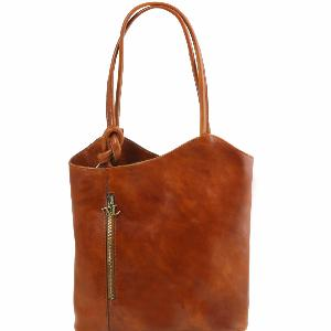 Sac Cuir Convertible en Sac à Dos Femme Camel  -Tuscany Leather-