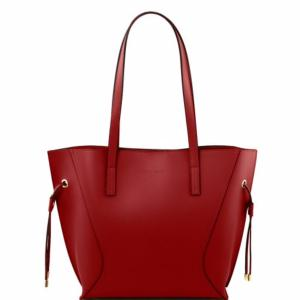 Grand Sac Fourre-Tout Cuir Nemesi Femme Rouge -Tuscany Leather-