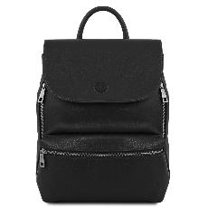 Compact Leather Backpack for Women Black - Tuscany Leather –