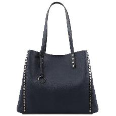 Solde Grand Sac Fourre Tout Cuir Femme Bleu  - Tuscany Leather -