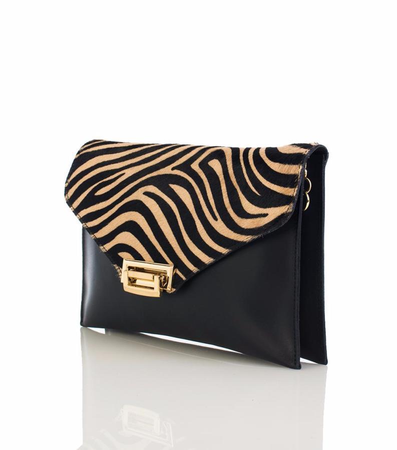d51b8adac67dc7 Sac Pochette Cuir Zebre Noir Blanc Femme -First Lady Firenze-